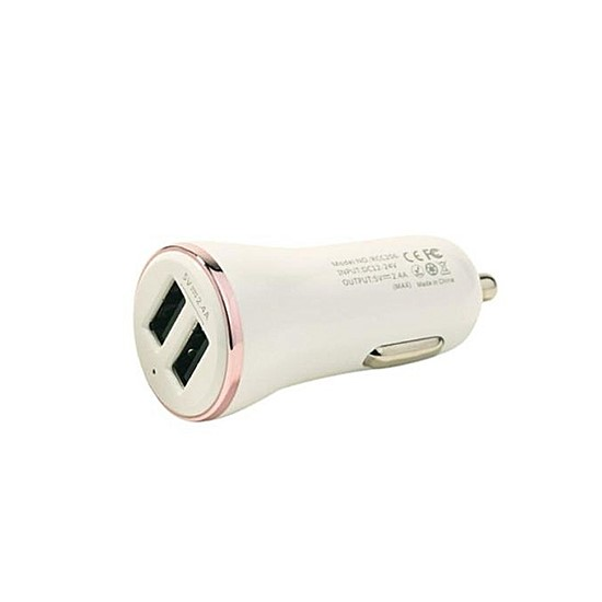 Remax Car Charger 2 USB Dolfin RCC206 white/rose gold