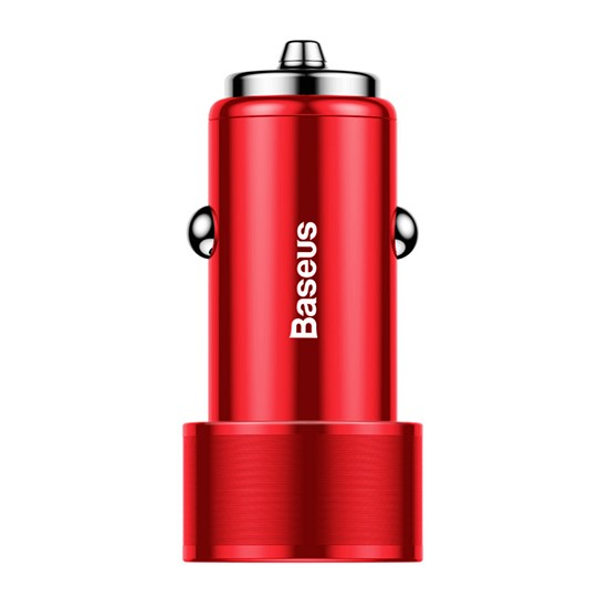 Baseus Small Screw Dual USB Quick Charge Car Charger 36W CAXLD-B09 red