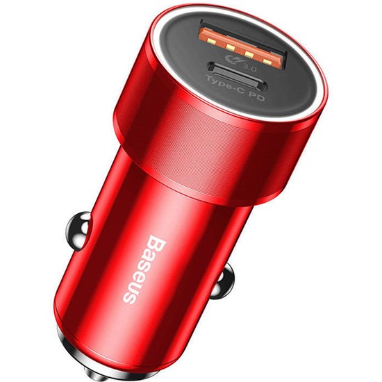 Baseus Small Screw Type-C PD+USB Quick Charge Car Charger 36W CAXLD-A09 red