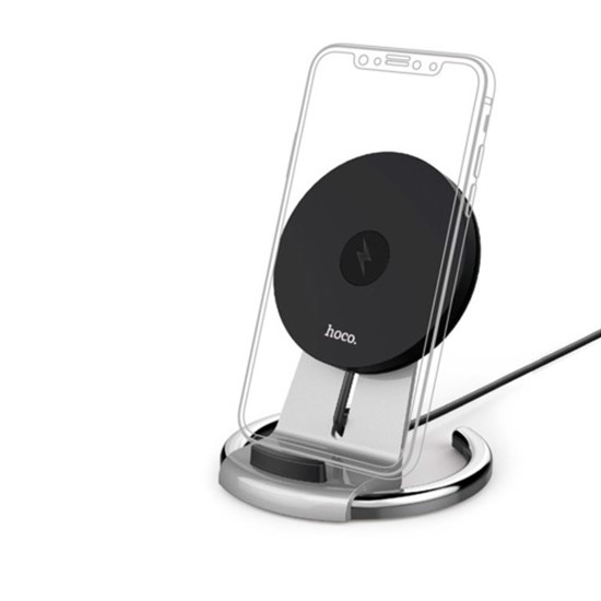 Hoco Unhidered Desktop Wireless Charger CW5A black/silver