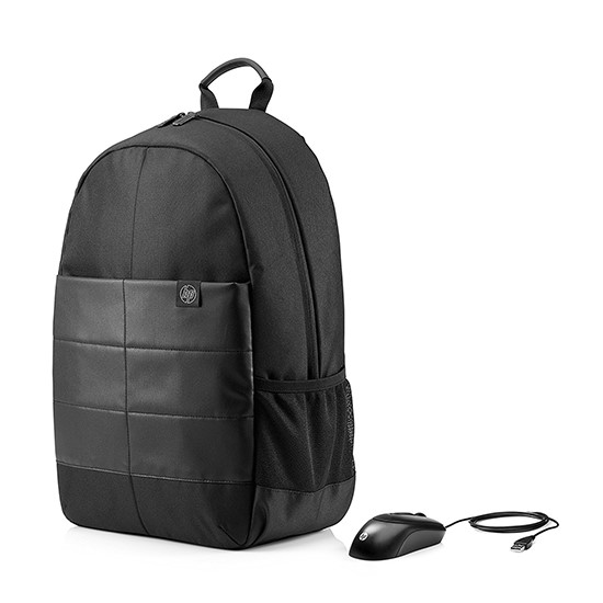 HP Laptop Bag 15.6 inches Backpack and Mouse 1FK04AA black