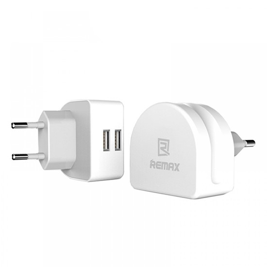Remax Travel Charger 2 USB RMT7188 (2 round pin) White