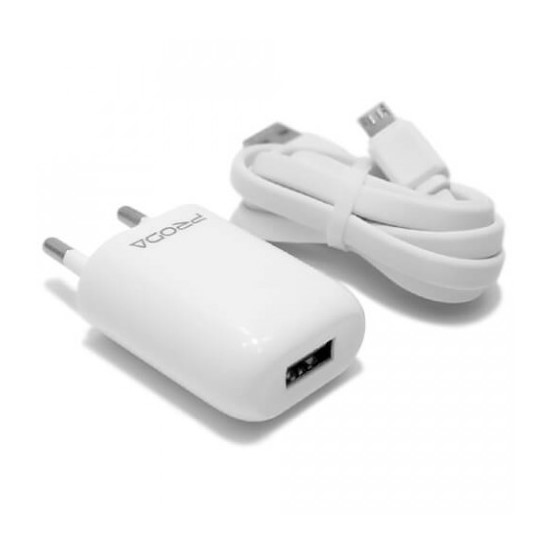 Изображение Proda USB Charger RP-U11 with cable micro USB (2 round pin) White