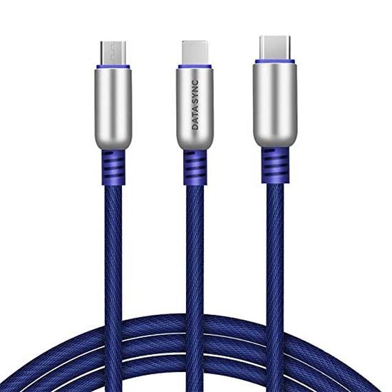Изображение Hoco Capsule Three In One Charging Cable U17 blue
