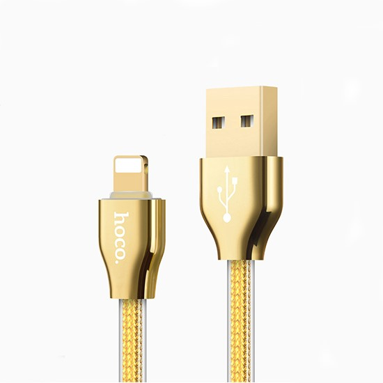 Изображение Hoco Golden Jelly Knitted Charging Cable Lightning X7 gold