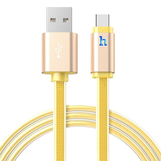 Hoco Metal Jelly Knitted Charging Cable Lightning UPL12 120cm Gold