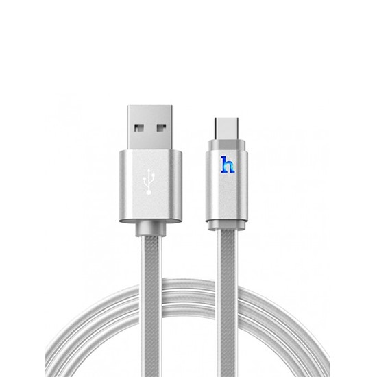 Изображение Hoco Metal Jelly Knitted Charging Cable Type-C UPL12 120cm silver