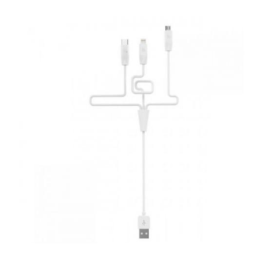 Hoco Rapid Charging Cable X1 Apple iPhone 6/6S+Micro USB+Type-C 1m white