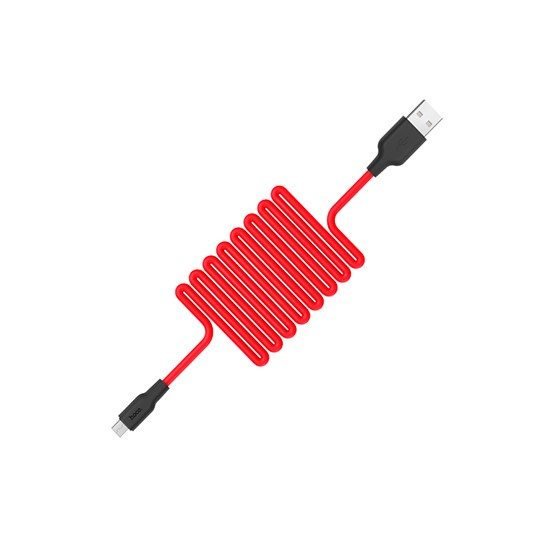 Изображение Hoco Silicone charging cable Micro X21 red
