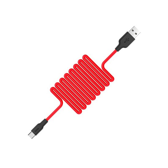 Hoco Silicone charging cable Type-C X21 red