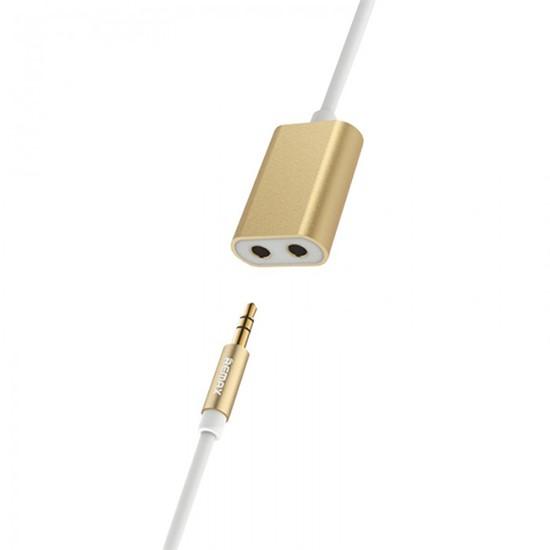 Изображение Remax 3.5 Aux Audio Cable x2 3.5mm Audio Jack 25cm RL-S20 gold