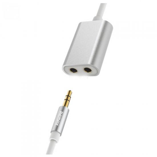 Remax 3.5 Aux Audio Cable x2 3.5mm Audio Jack 25cm RL-S20 silver