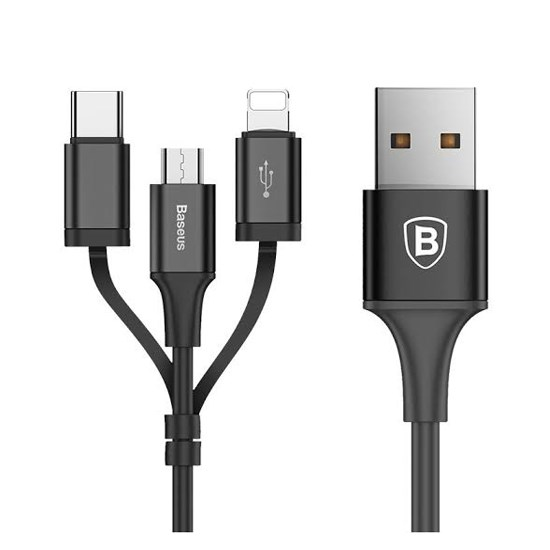 Baseus Excellent 3 in 1 USB Cable Micro USB/Lightning/Type-C 2A 1.2m CA3IN1-ZY01  black